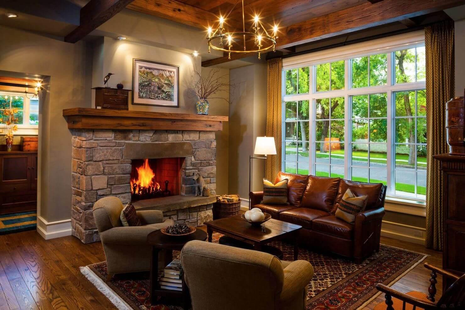 Гостиная с камином: как оформить квартиру