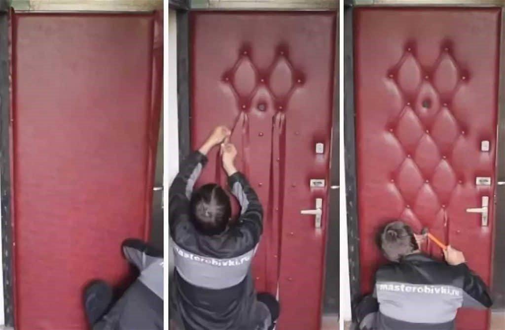 Как оббить деревянную или металлическую входную дверь дерматином, винилискожей и другими видами кожзаменителей